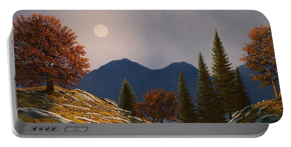 Landscape Portable Battery Charger featuring the painting Mountain Moonrise by Frank Wilson