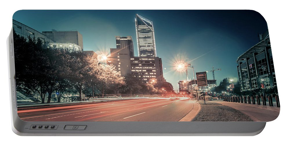 View Portable Battery Charger featuring the photograph November, 2017, Charlotte, Nc, Usa - Early Morning In The City O by Alex Grichenko