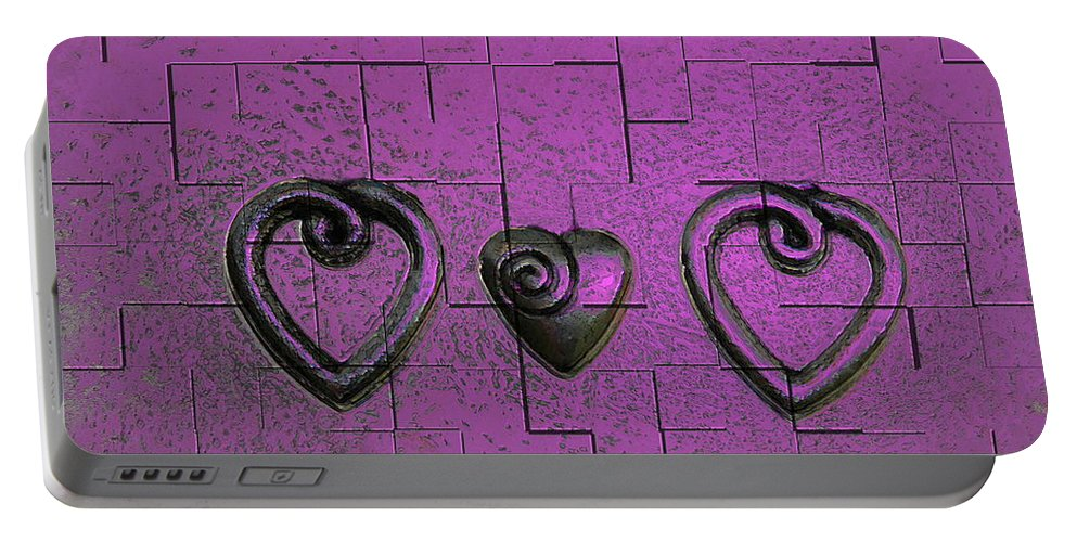Abstracts Pink Purple Portable Battery Charger featuring the photograph 3 Of Hearts by Linda Sannuti