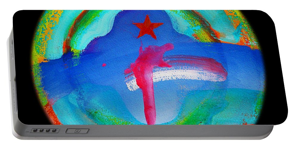 Wold Trade Center Portable Battery Charger featuring the painting One by Charles Stuart