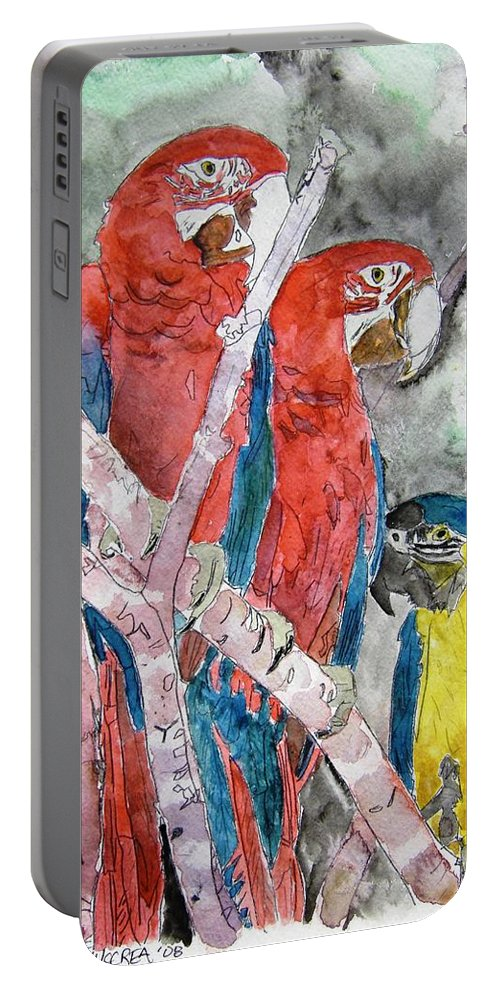Bird Portable Battery Charger featuring the painting 3 Parrots by Derek Mccrea
