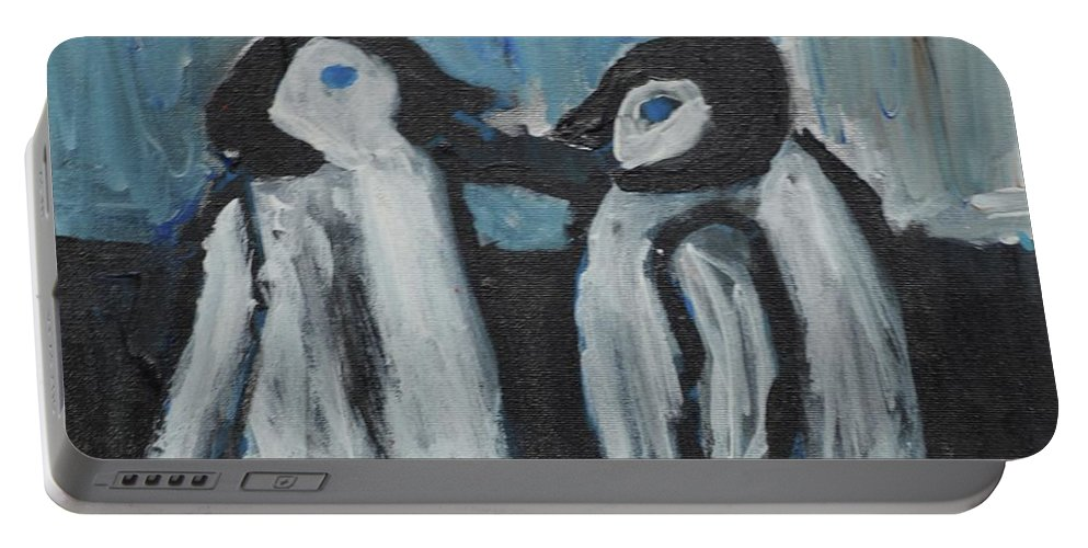 #penguins #art #fineart Portable Battery Charger featuring the painting Penguins by Aj Watson