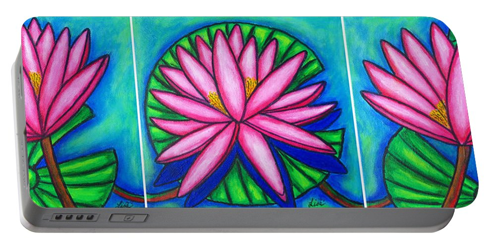 Water Lilies Portable Battery Charger featuring the painting 3 Pink Gems by Lisa Lorenz