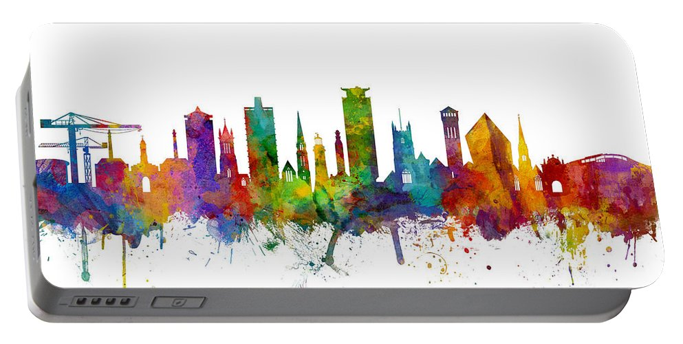 City Portable Battery Charger featuring the digital art Plymouth England Skyline by Michael Tompsett