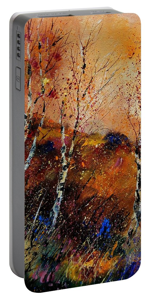 River Portable Battery Charger featuring the painting 3 Poplars by Pol Ledent