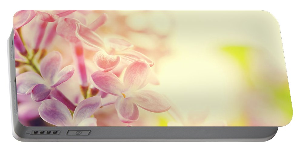 Lilac Portable Battery Charger featuring the photograph Purple Spring Lilac Flowers Blooming Close-up by Michal Bednarek