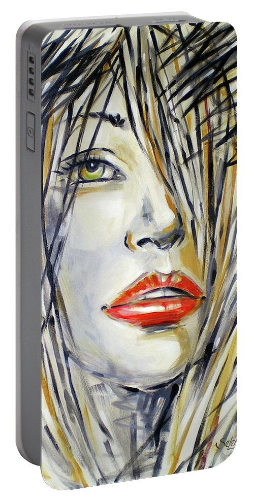 Woman Portable Battery Charger featuring the painting Red Lipstick 081208 by Selena Boron