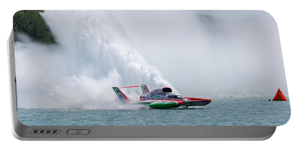 Annual Event Portable Battery Charger featuring the photograph Roostertail From Racing Hydroplanes Boats On The Detroit River For Gold Cup by Bruce Beck