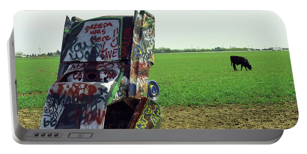 66 Portable Battery Charger featuring the photograph Route 66 - Cadillac Ranch by Frank Romeo