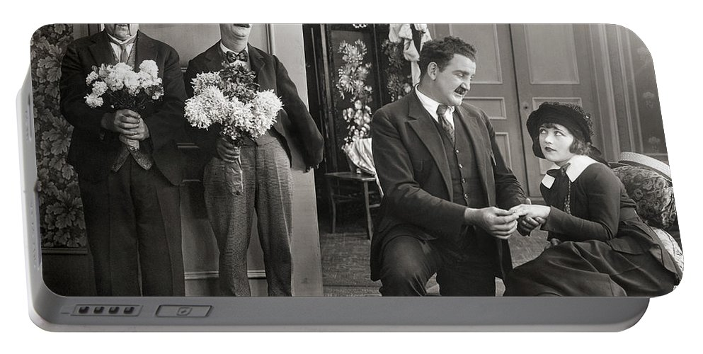 -couples- Portable Battery Charger featuring the photograph Silent Film Still: Couples by Granger