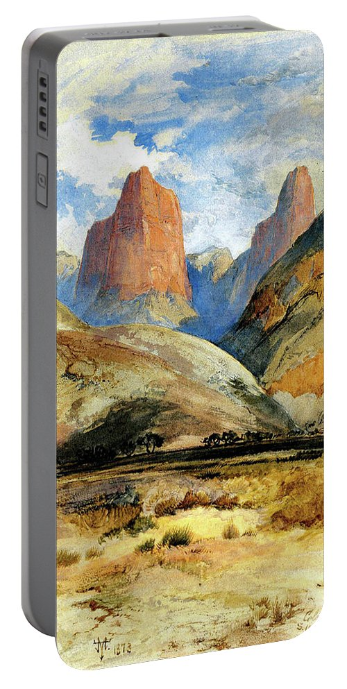 Colburn's Butte Portable Battery Charger featuring the painting South Utah by Thomas Moran