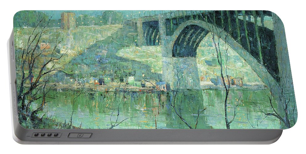 Ernest Lawson Portable Battery Charger featuring the photograph Spring Night Harlem River by Ernest Lawson