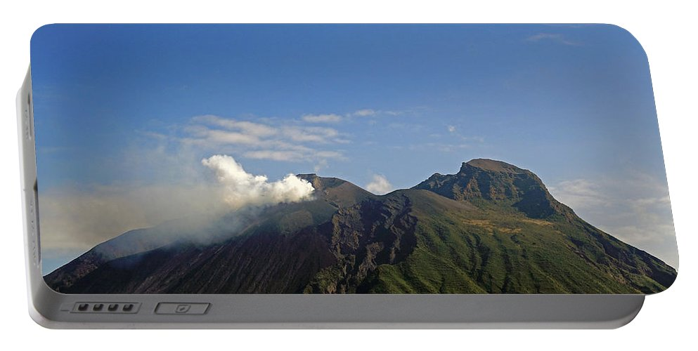 Island Of Stromboli Portable Battery Charger featuring the photograph Stromboli Volcano On The Island Of Stromboli by Richard Rosenshein