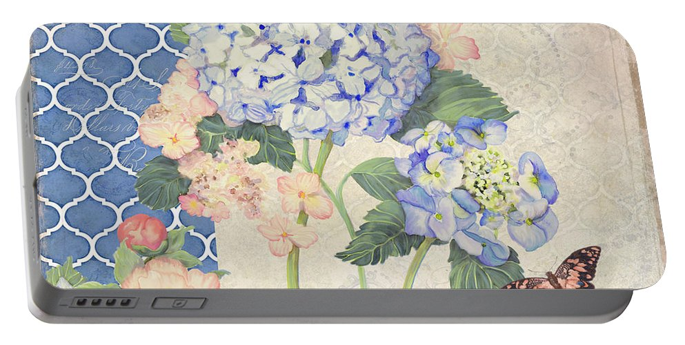 Portable Battery Charger featuring the painting Summer Memories - Blue Hydrangea N Butterflies by Audrey Jeanne Roberts