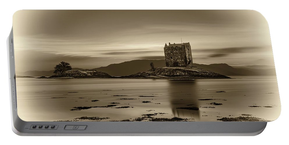 Attraction Portable Battery Charger featuring the photograph Sunset Over Castle Stalker, Scotland, United Kingdom by Miroslav Liska