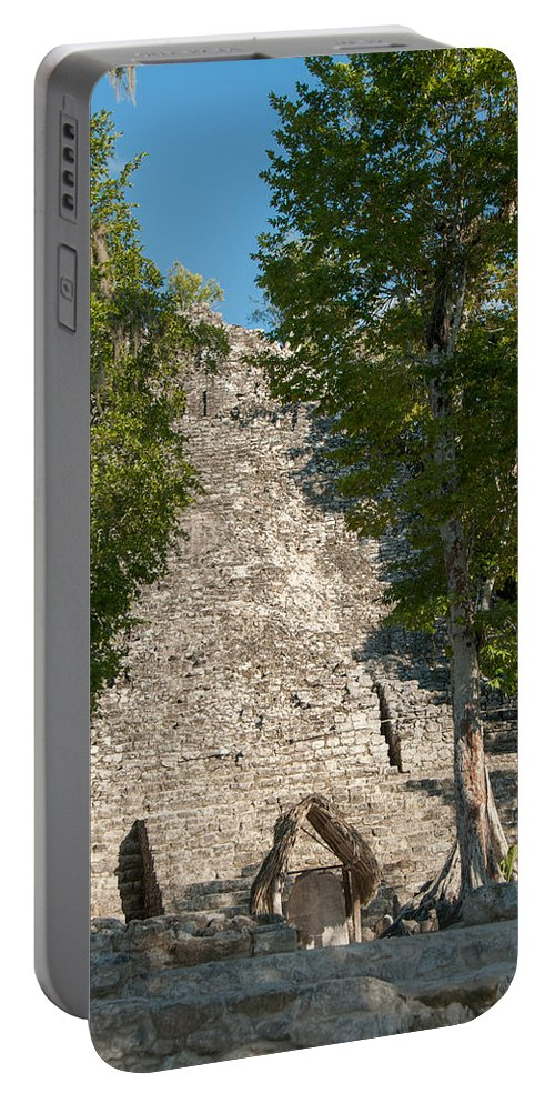 Mexico Quintana Roo Portable Battery Charger featuring the digital art The Church At Grupo Coba At The Coba Ruins by Carol Ailles