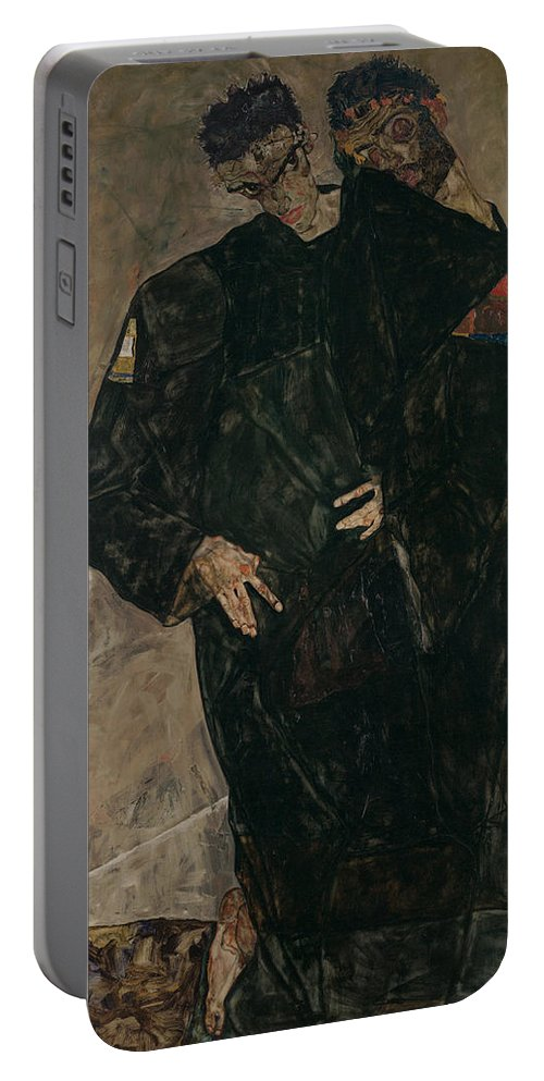 Schiele Portable Battery Charger featuring the photograph The Hermits by Egon Schiele