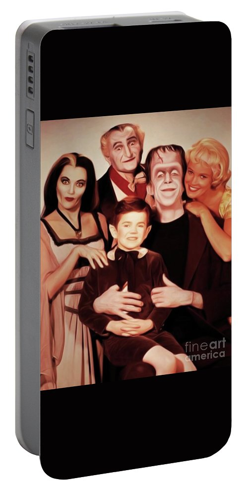 Munsters Portable Battery Charger featuring the digital art The Munsters by Mary Bassett
