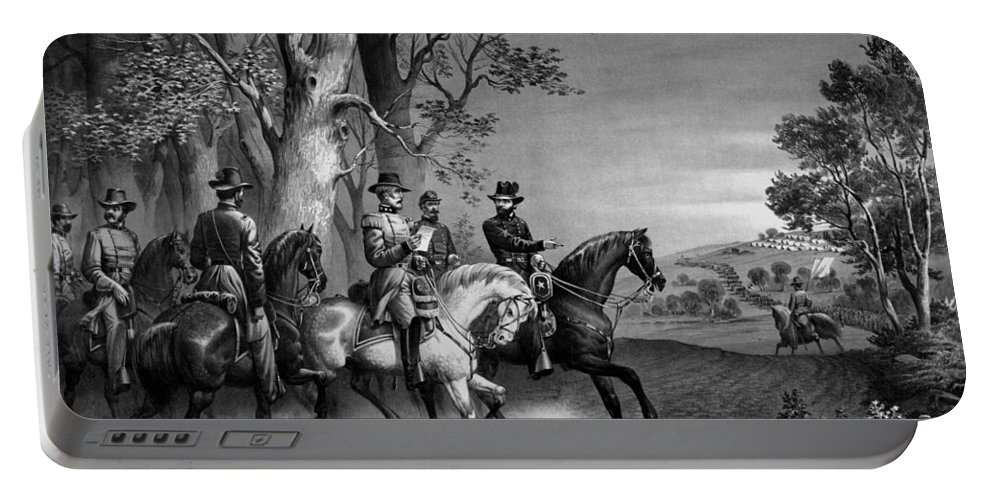 General Grant Portable Battery Charger featuring the drawing The Surrender Of General Lee by War Is Hell Store