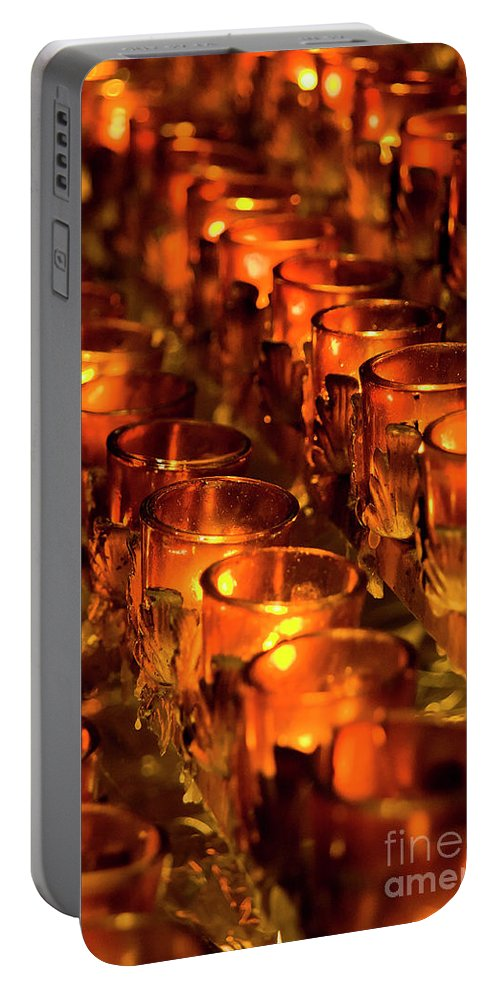Nyc Portable Battery Charger featuring the photograph Votive Candles. by John Greim