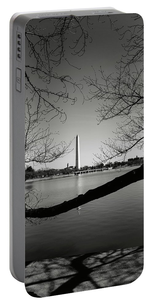 Green Portable Battery Charger featuring the photograph Washington Memorial by Brandon Bourdages