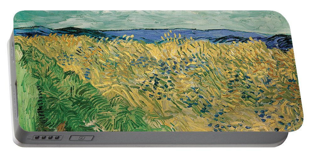 Clouds Portable Battery Charger featuring the painting Wheat Field With Cornflowers by Vincent van Gogh