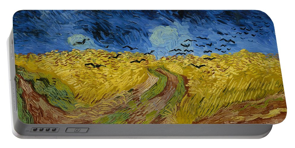 Animal Portable Battery Charger featuring the painting Wheat Field With Crows by Vincent van Gogh