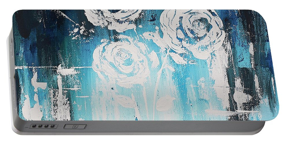 Flowers Portable Battery Charger featuring the painting 3 White Roses by Angelina Cornidez