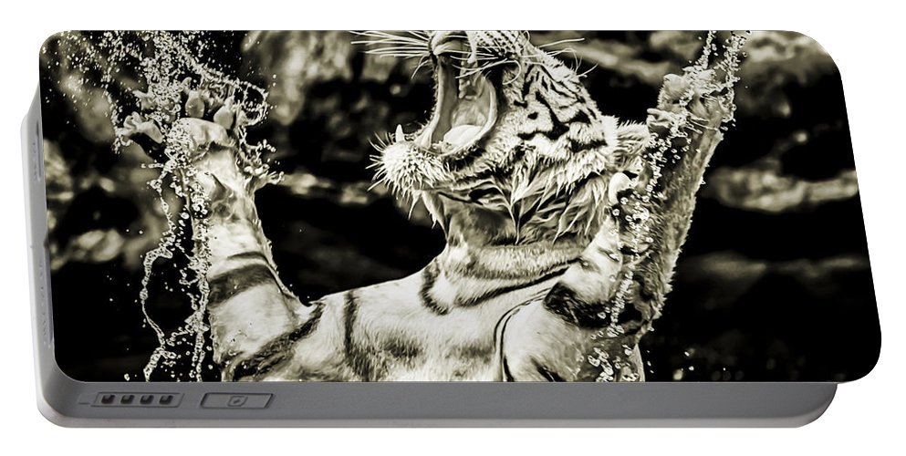 Portable Battery Charger featuring the photograph White Tiger by Jijo George