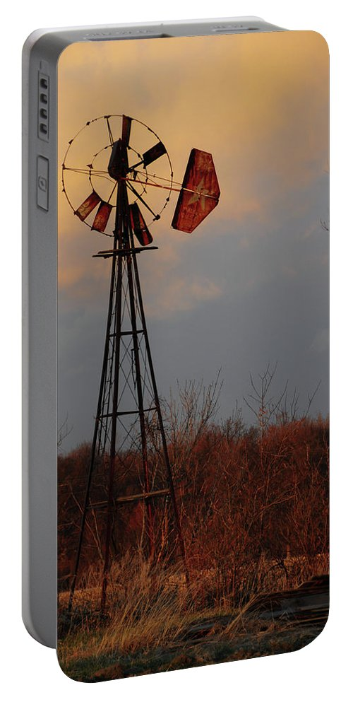 Windmill Portable Battery Charger featuring the photograph Windmill At Dusk by David Arment