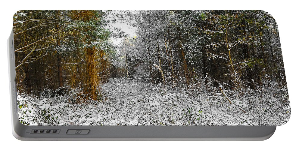 Abstract Portable Battery Charger featuring the digital art Winter Time by Svetlana Sewell