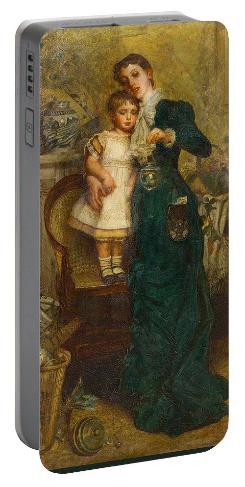 Continental School(19th Century)woman With Child And Goldfish Portable Battery Charger featuring the painting Woman With Child And Goldfish by MotionAge Designs