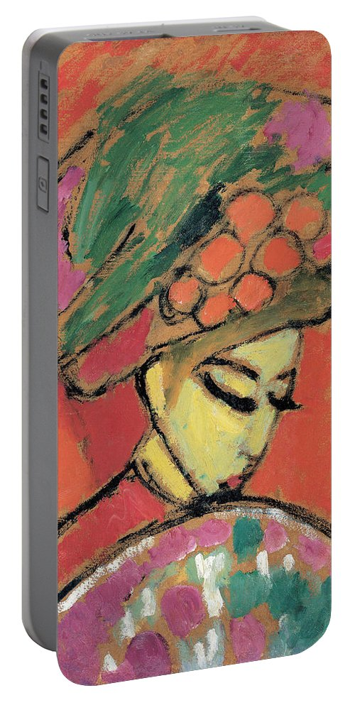 Young Girl With A Flowered Hat By Alexei Jawlensky Portable Battery Charger featuring the painting Young Girl With A Flowered Hat by Alexei Jawlensky