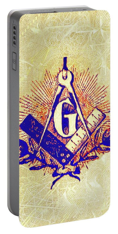Freemason Portable Battery Charger featuring the painting Freemason, Masonic, Symbols by Pierre Blanchard
