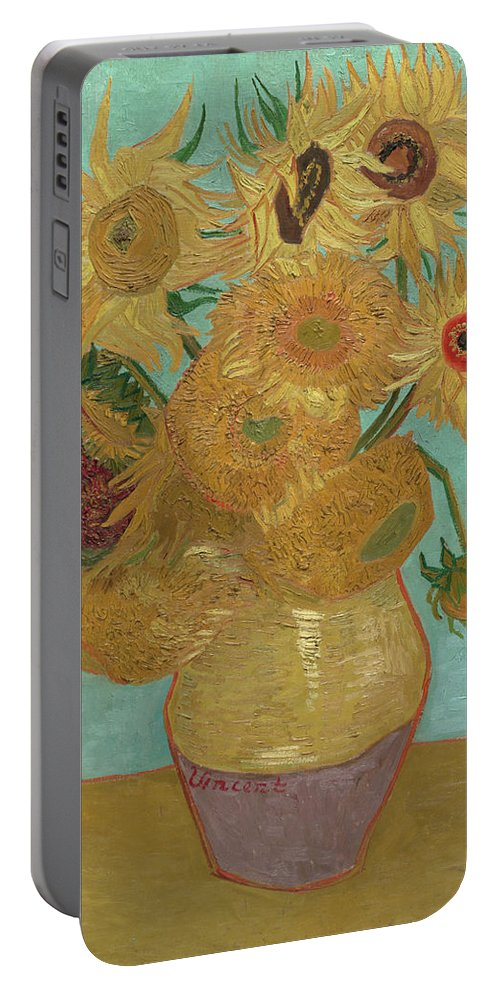 Vincent Van Gogh Portable Battery Charger featuring the painting Sunflowers by Vincent van Gogh