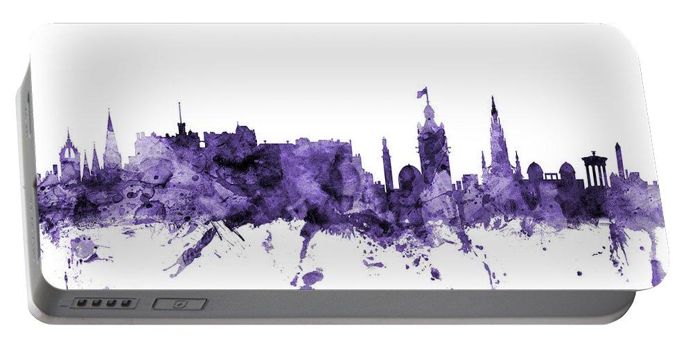 City Portable Battery Charger featuring the digital art Edinburgh Scotland Skyline by Michael Tompsett
