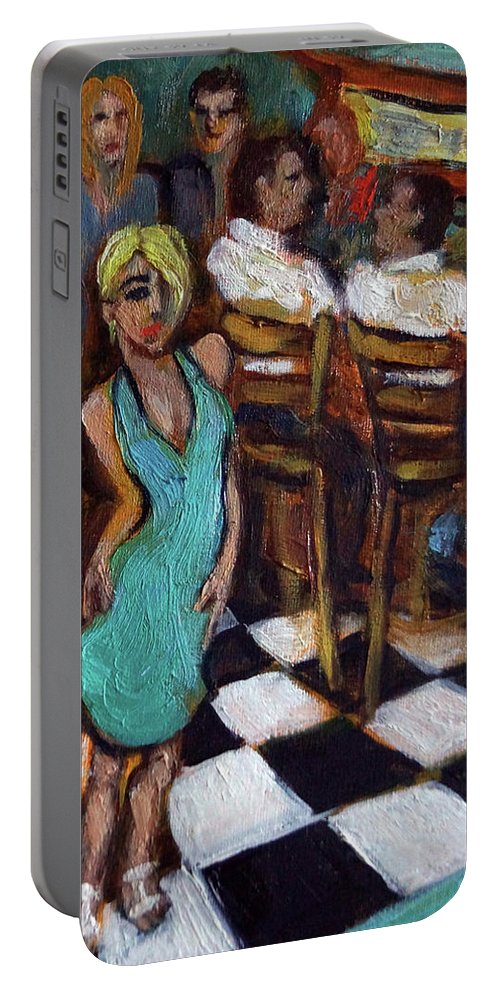 Restaurant Portable Battery Charger featuring the painting 32 East by Valerie Vescovi