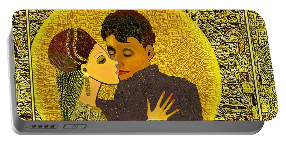 325 Golden Dancing A Portable Battery Charger featuring the painting 325 Golden Dancing A by Irmgard Schoendorf Welch