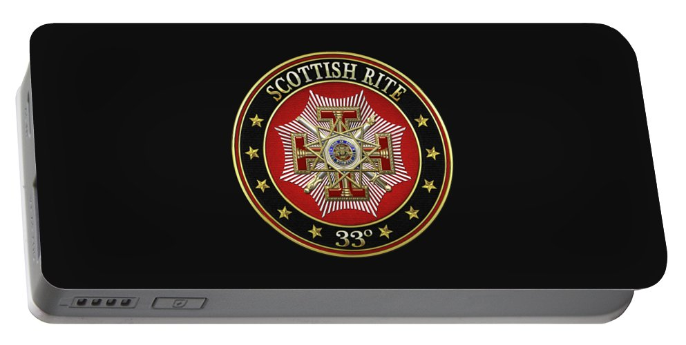 'scottish Rite' Collection By Serge Averbukh Portable Battery Charger featuring the digital art 33rd Degree - Inspector General Jewel On Black Leather by Serge Averbukh