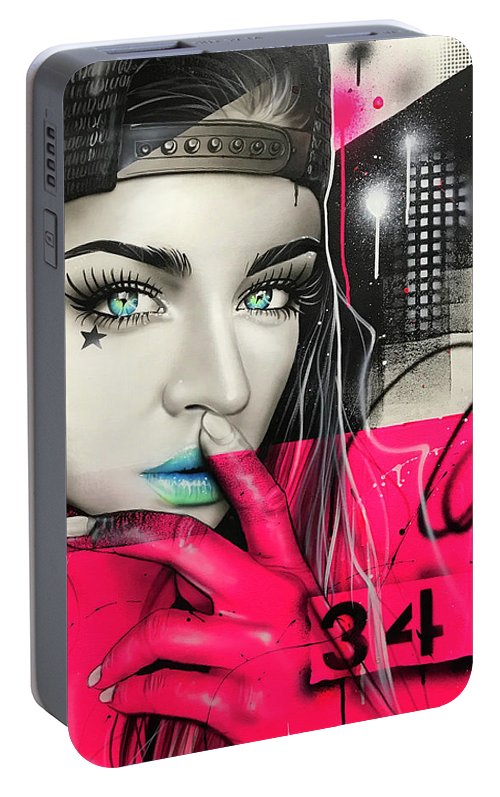 Street Life Portable Battery Charger featuring the painting 34 Dj Girl by Christian Chapman Art