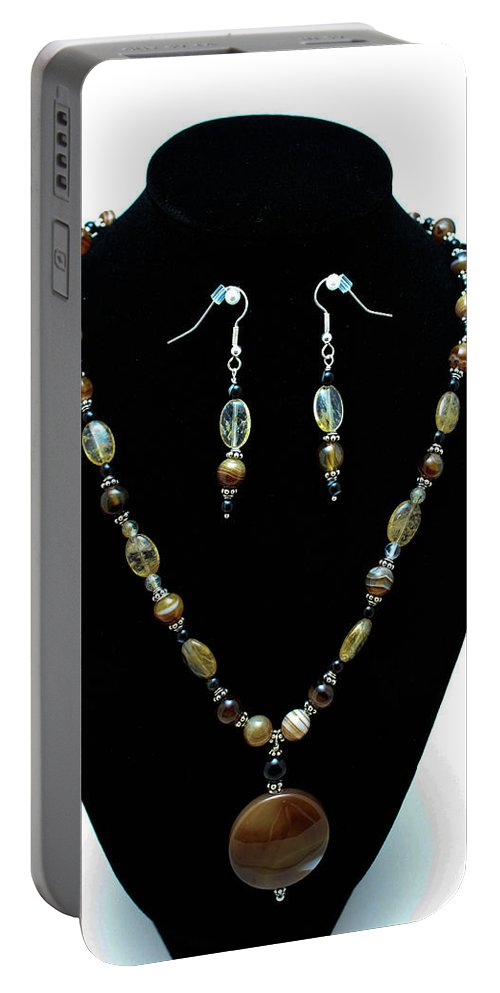 Jewelry Portable Battery Charger featuring the jewelry 3509 Amber Striped Onyx Set by Teresa Mucha