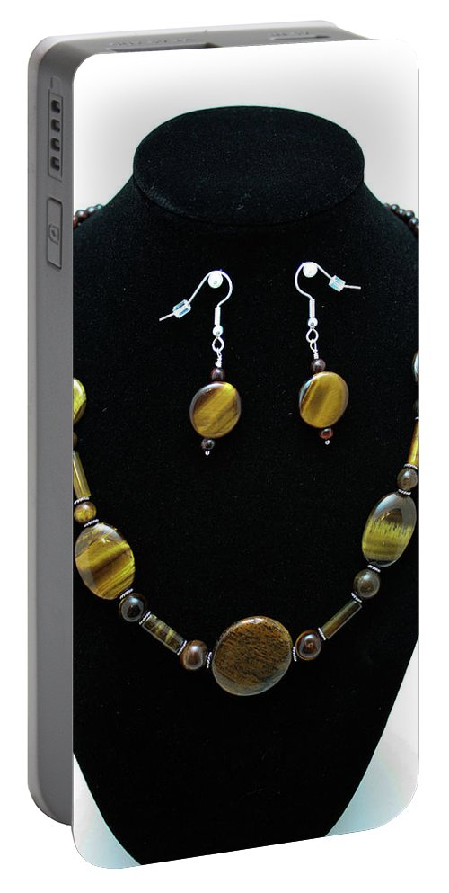 Jewelry Portable Battery Charger featuring the jewelry 3510 Tiger Eye Set by Teresa Mucha