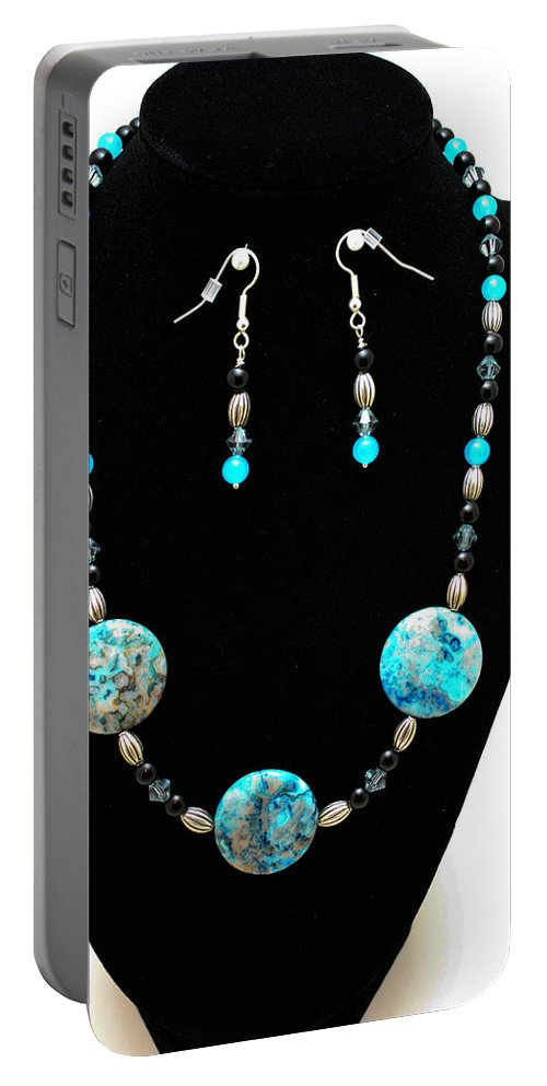 Jewelry Portable Battery Charger featuring the jewelry 3517 Crazy Lace Agate Set by Teresa Mucha