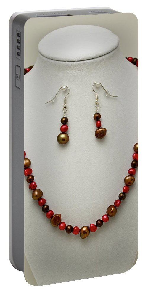Handmade Portable Battery Charger featuring the jewelry 3536 Freshwater Pearl Necklace And Earring Set by Teresa Mucha