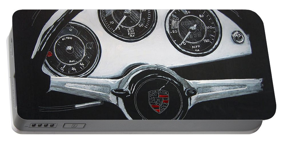 Porsche Portable Battery Charger featuring the painting 356 Porsche Dash by Richard Le Page