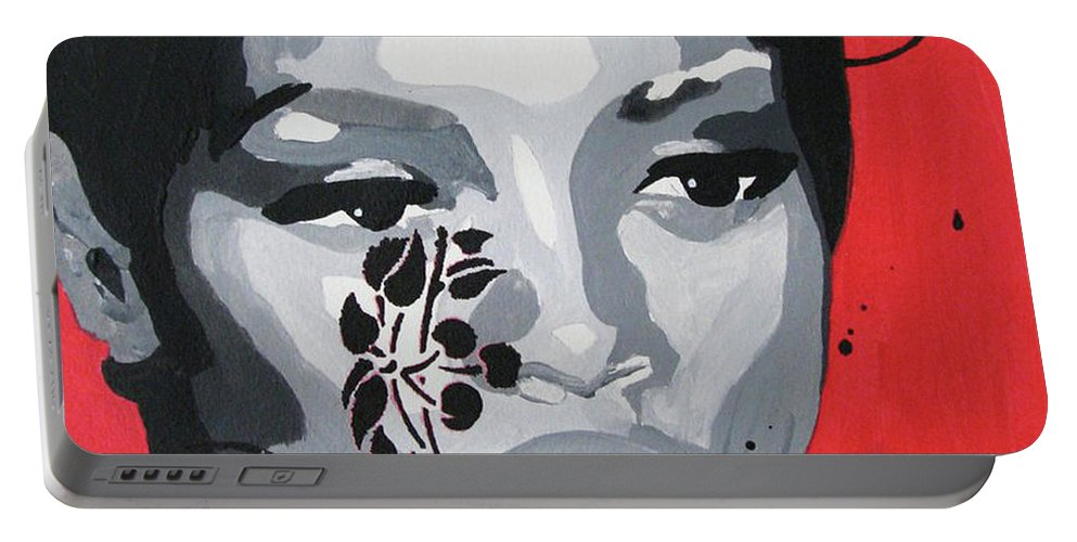 Portrait Face Woman Contemporary Modern Urban Fashion Expressionism Abstract Figurative Eyes Original Painting Pop Decorative Gift Girl Love Paper Watercolor Canvas Texture Acrylic Spray Paint Portable Battery Charger featuring the painting Untitled by Juan Mildenberger
