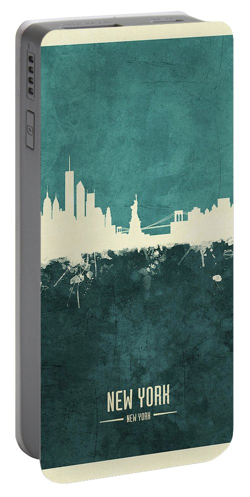 New York Portable Battery Charger featuring the digital art New York Skyline by Michael Tompsett