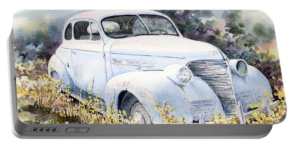 Automobile Portable Battery Charger featuring the painting 39 Chevy by Sam Sidders