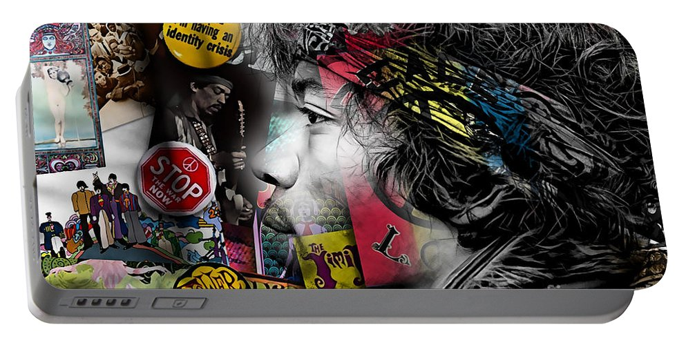 Jimi Hendrix Portable Battery Charger featuring the mixed media Jimi Hendrix Collection by Marvin Blaine