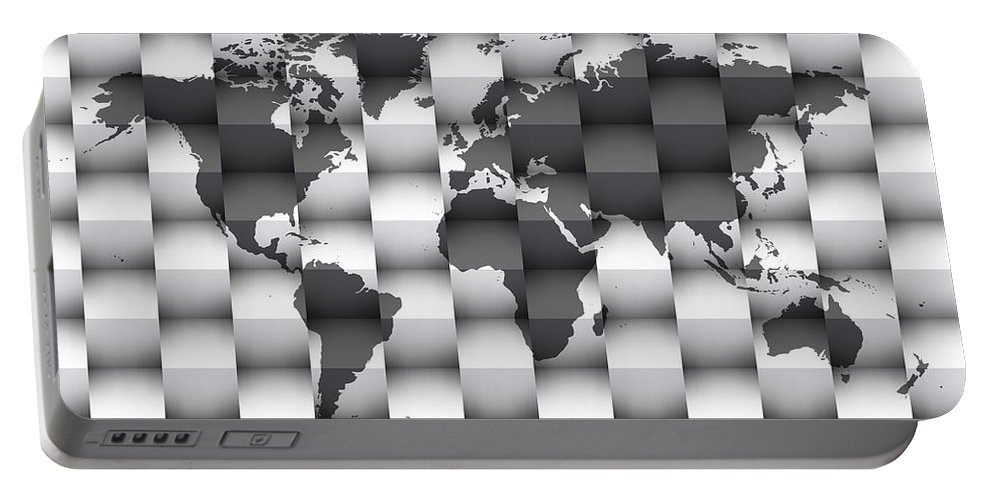 Map Of The World Portable Battery Charger featuring the digital art 3d Black And White World Map Composition by Alberto RuiZ